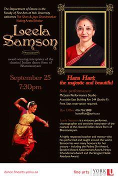 """Hara Hari"" - A solo performance by Bharatanatyam dancer Leela Samson, an award-winning interpreter of the classical Indian dance form of Bharatanatyam, as The Shan & Jaya Chandrasekar Visiting Artist-in-Residence. Sept 25, 2013, 19:30-20:30"