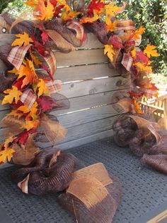 Fall Garland Fall Leaf Garland Fall Deco Mesh Garland Fall Leaf Swag Brown/O. Thanksgiving Home Decorations, Fall Home Decor, Fall Tree Decorations, Fall Festival Decorations, Thanksgiving Tree, Fall Swags, Fall Wreaths, Deco Mesh Garland, Fall Leaf Garland