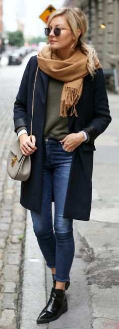 Laurie Ferraro + authentically seasonal outfit + beige scarf + longline blazer + pair of patent Chelsea boots + jeans + autumnal hues + classic fall style.   sweater/Jeans: Citizens of Humanity, Blazer: Oak & Fort, Boots: Zara.