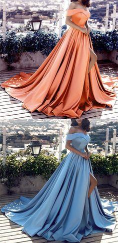 elegant satin bridesmaid dresses off the shoulder front split prom formal gowns for women vp7163 by VestidosProm, $130.73 USD Satin Bridesmaid Dresses, Prom Dresses 2018, Evening Dresses, Long Dresses, Grad Dresses, Dance Dresses, Dress Outfits, Fashion Outfits, Wedding Dresses