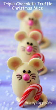 Triple Chocolate Truffle Christmas Mice made with Silk Cashew Milk from http://www.hungryhappenings.com