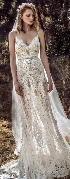 galia lahav gala 4 2018 bridal sleeveless spaghetti strap sweetheart neckline full embellishment romantic soft a  line wedding dress open back sweep train (911) lv -- Gala by Galia Lahav 2018 Wedding Dresses
