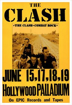 """The Clash - Combat Rock concert poster print 13"""" x 19"""" Printed on quality matte paper on a high end, eight color Epson printer with UltraChrome K3 inks that produce archival prints with amazing color. Posters ship in sturdy mailing tube within 1-3 days of ordering. Color Posters, Rock Posters, Band Posters, Concert Posters, Poster On, Poster Wall, Poster Prints, Combat Rock, Kitchen Gallery Wall"""