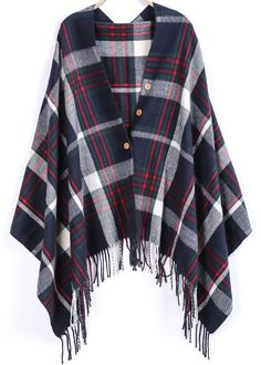 Shop Navy Plaid Buttons Tassel Scarve online. Sheinside offers Navy Plaid Buttons Tassel Scarve & more to fit your fashionable needs. Free Shipping Worldwide!