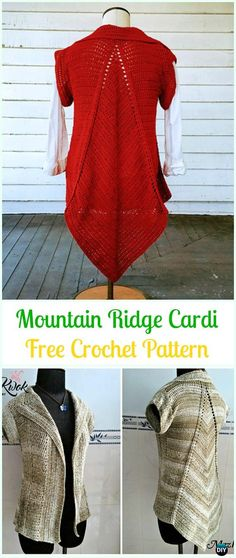 Crochet Mountain Ridge Cardigan Free Pattern - Crochet Women Sweater Coat & Cardigan