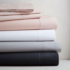 pale pink washed cotton sheet set