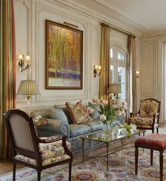Comfy French Country Living Room Decor Ideas - New Design French Living Rooms, French Country Living Room, Elegant Living Room, Formal Living Rooms, Country French, Country Kitchen, Country Style, Living Room Decor Country, Home Living Room