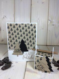 Weihnachtskarte und Strohhalmbox in Naturtönen - Lieblingskarten