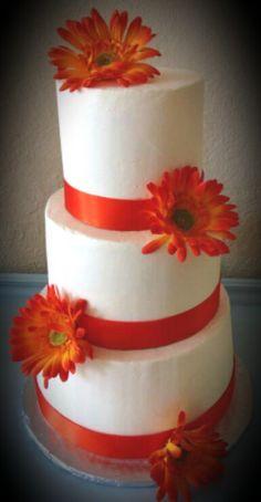 Orange Gerbera wedding cake