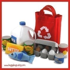 GROCERIES - Milk, Eggs, Egg Carton, Fish, Butter, Canned Food, Soup, Beans, Corn, Tuna, Tote Bag (Patterns and Instructions)