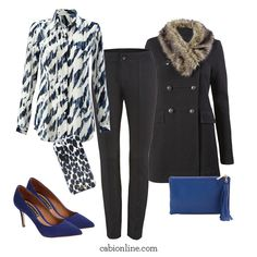#cabi – (Faux) fur accents, prints, and bright pumps make any day-to-night look more fun.