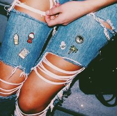 """customize your jeans with the original hipstapatch mini peel and stick patches. Approximately 1"""" x 1"""", these patches can stick on almost any surface, for the ultimate DIY. Personalize your clothes, cell phone case, laptop, bags and shoes with these adorable real life emojis. Photo: @annaschultzz"""