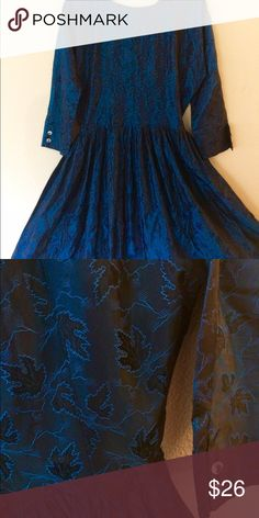 Blue, Leaf Print Vintage Swing Style Dress Darling dress in a deep blue. Unmarked, fits a 10 - 12. Two buttons missing from right arm. Dresses