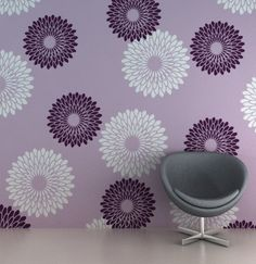 Reusable flower wall decoration, DIY home decor stencil, FS - 03 Wall Painting Living Room, Wall Painting Decor, Stencil Painting On Walls, Paint Colors For Living Room, Room Paint, Stencil Art, Flower Wall Decor, Diy Wall Decor, Room Decor