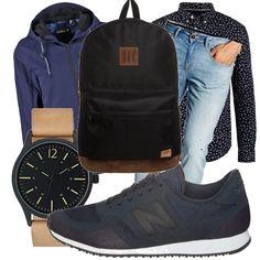 Per un ragazzo che va all'università e vuole stare comodo ma è attento a come si veste. Jeans classici chiari, camicia a fantasia e scarpe comode. Per completare, una giacca ideale per la pioggia e il vento, un orologio per essere sempre puntuale alle lezioni e uno zaino.
