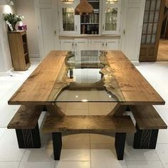 Dining Room Furniture Design, Dining Room Table Decor, Dining Table Design, Room Decor, Bench Furniture, Wooden Furniture, Dining Table Height, Table Bench, Trestle Table