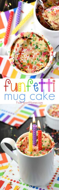 Funfetti Mug Cake ~ this single-serving microwave mug cake recipe comes together in just a few minutes and yields light, fluffy, vanilla cake -- bursting with colorful sprinkles, and perfect for a bir Halloween Desserts, Fun Desserts, Delicious Desserts, Yummy Food, Mug Recipes, Cupcake Recipes, Dessert Recipes, Quick Dessert, Dinner Dessert