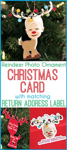 Reindeer Photo Ornament Christmas Card - Here's a tutorial for turning any piece of clipart into a custom photo ornament that also makes the *cutest* Christmas card!