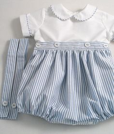 Items similar to Blue Striped Oxford Romper-suit set. Smocked Baby Dresses, Baby Girl Dresses, Baby Boy Outfits, Kids Outfits, Two Piece Rompers, Romper Suit, Baby Sewing, Kids Fashion, Clothes
