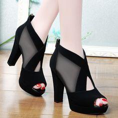 Giày cao gót lưới chéo cao cấp