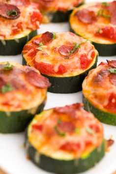 Topped with sauce, mozz, and mini pepperonis, zucchini makes a surprisingly adorable base for pizza. Get the recipe.   - Delish.com