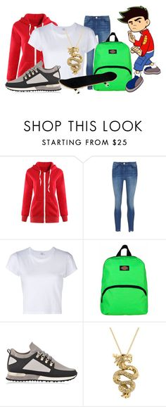 """""""American Dragon Jake Long"""" by princessmikyrah ❤ liked on Polyvore featuring WithChic, RE/DONE, Dickies, MALLET and Effy Jewelry"""