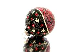 my friend Pearle Northrop paints the most gorgeous ornaments! .. Metallic Red Hand painted Christmas Ornament by PearlesPainting