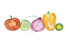 Vegetable Juice - Art Print watercolor red tomato purple onion yellow pepper green cucumber leek colourful fun fresh healthy Oladesign 8x10
