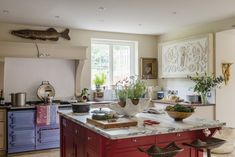 Vibrant family kitchen. Reproduction Furniture, Family Kitchen, Traditional Furniture, Interior Photography, Marble Top, Home Kitchens, Country Kitchens, Kitchen Island, House