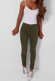 Pink Boutique Rho Khaki High Waisted Ripped Jeggings £22 http://www.pinkboutique.co.uk/rho-khaki-high-waisted-ripped-jeggings.html #pinkboutique