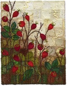Rose Hip Garden 4 by Kirsten Chirsinoff I love the multiple fabrics used to create the textural and tonal background for this piece.