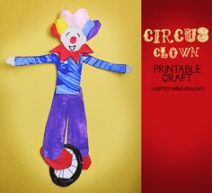 Printable Circus Craft: Clown on a unicycle.