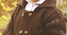 Talle: 2 años Útiles : 150 g de lana, un par de agujas n° 4 y otro n° 5, una aguja auxiliar, una aguja de coser lana, 6 botones al t... Madona, Jumper, Men Sweater, Toddlers, Sweaters, Projects, Fashion, Sweater Jacket, Stuff Stuff