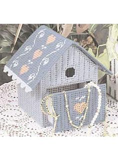 Plastic Canvas - Home Decor - Decorations & Knickknacks - Keepsake Birdhouse - Plastic Canvas Stitches, Plastic Canvas Crafts, Plastic Canvas Patterns, Tissue Box Covers, Tissue Boxes, Cross Stitch Geometric, Birdhouse Designs, Box Patterns, Needlepoint Patterns