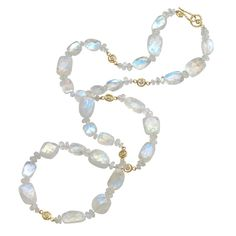 Pamela Froman Long Moonstone Diamond Gold Scrolls Necklace | From a unique collection of vintage beaded necklaces at https://www.1stdibs.com/jewelry/necklaces/beaded-necklaces/