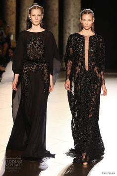 elie saab fall 2012 2013 couture black kaftan sheer lace caftan