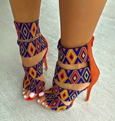 pattern orange blue multicolor heels high heels strappy heels colorful yellow shoes african print african style colorful shoes sandal heels print tribal pattern high heel sandals cute african cultural beaded look. Sexy Heels, High Heels Stilettos, Strappy Heels, Stiletto Heels, Pumps, Sandal Heels, Women's Sandals, Sandals Outfit, High Sandals