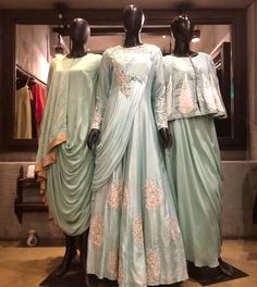Beautiful Draped Satin-Silk Dresses with Hand Embroidery embellishments. Drape Gowns, Draped Dress, Silk Dress, Indian Wedding Gowns, Indian Dresses, Indian Outfits, Designer Gowns, Indian Designer Wear, Kurta Designs