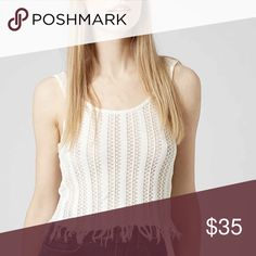 """TOPSHOP CROP TOP Boho Tank NEW WITH TAGS   TOPSHOP Boho Crochet Tank Fringe Trim  * Scoop neck front  * Tank style w/wide straps, lower back (semi backless )  * It measures about 21"""" long   * Frayed fringe hem.  * Crochet eyelet detail & stay fabric.  Fabric: 99% Cotton & 1% Spandex Color: White Combo Item:  # cold shoulder  Tagged U.K. size 14 = U.S. size 10-12 (L) No Trades ✅ Offers Considered*/Bundle Discounts✅  *Please use the blue 'offer' button to submit an offer. Topshop Tops Crop…"""