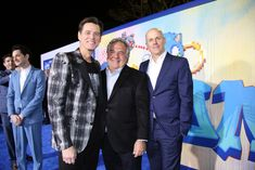 """Jim Carrey Photos Photos - (L-R) Jim Carrey, Paramount's Jim Gianopulos and Producer Neal Moritz attend a """"Sonic The Hedgehog"""" Special Screening at the Regency Village Theatre on February 12, 2020 in Westwood, California. """"Sonic The Hedgehog"""" LA Special Screening Phillips Morris, Westwood California, February 12, Jim Carrey, Photo L, Regency, Hedgehog, Theatre, Breast"""
