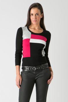 Pull blocs couleurs et sequins - Pull Manches longues femme de la marque Bréal