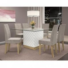 Conjunto Sala de Jantar Mesa Tampo Vidro 8 mm Vince 6 Cadeiras Olímpia Dj Móveis Branco Laca/Teka - Móveis para Salas de Jantar | Magazine Luiza