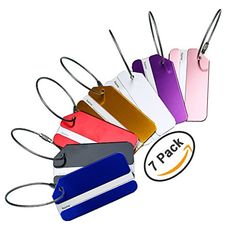 Hibate Metal Luggage Tag Suitcase Bag Travel Labels Accessories  Set of 7 * Details can be found by clicking on the image.