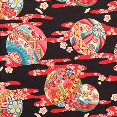 black Asia flower ball Kokka fabric from Japan