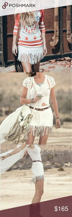 Spell Designs white MUSE LEATHER FRINGE SKIRT Brand new, never worn Spell & The Gypsy Collective Skirts Mini
