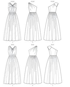 Newest Photos sewing dresses evening Ideas Butterick 5987 Misses' Dress Line Drawing Dress Design Drawing, Dress Design Sketches, Fashion Design Sketchbook, Fashion Illustration Sketches, Fashion Design Drawings, Fashion Sketches, Dress Drawing Easy, Wedding Dress Sketches, Wedding Dress Patterns