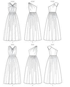 Butterick 5987 Misses' Dress Line Drawing