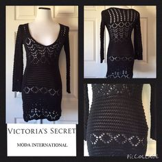 """VICTORIA'S SECRET MODA INTERNATIONAL SWEATER DRESS Beautiful black Knit sweater dress by Victoria's Secret Moda International. Size Small. Our mannequin is a size 4-6 for reference. 32"""" length 22"""" sleeves 36"""" bust. No trades or PayPal. Thank you for stopping by @treasuresbytrac  Victoria's Secret Moda International Dresses Midi"""