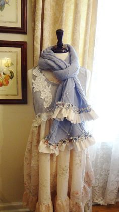 Romantic French Blue Hydrangea Scarf Shabby by BerthaLouiseDesigns, $29.95