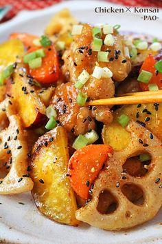 こんにちは。今日は秋たっぷり根菜料理♪根菜×鶏肉でごちそうレシピです~♪根菜がおいしい季節!シャキシャキレンコンとほっくりさつまいもたっぷり!食材に片栗粉をまぶして焼いているので、お肉はぷるんと柔らか!野菜は周りがもっちり中ほっくり&シャキシャキ!仕上げ Home Recipes, Asian Recipes, Cooking Recipes, Ethnic Recipes, Japanese Recipes, Sweet Potato Stir Fry, Japenese Food, Vegetable Appetizers, Pasta Salad
